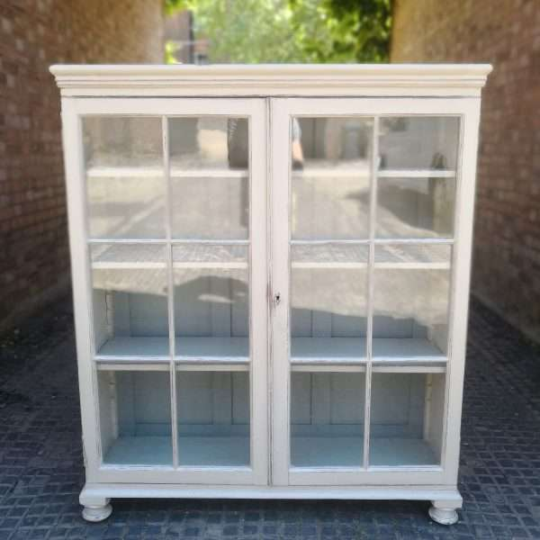 Victorian Painted Pine Glazed Bookcase