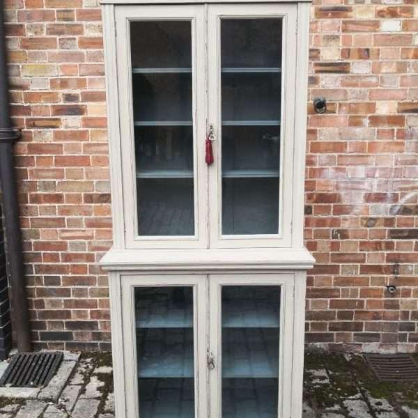 Edwardian Painted Walnut Double Glazed Cabinet3
