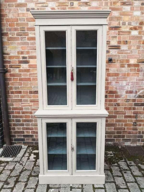 Edwardian Painted Walnut Double Glazed Cabinet3