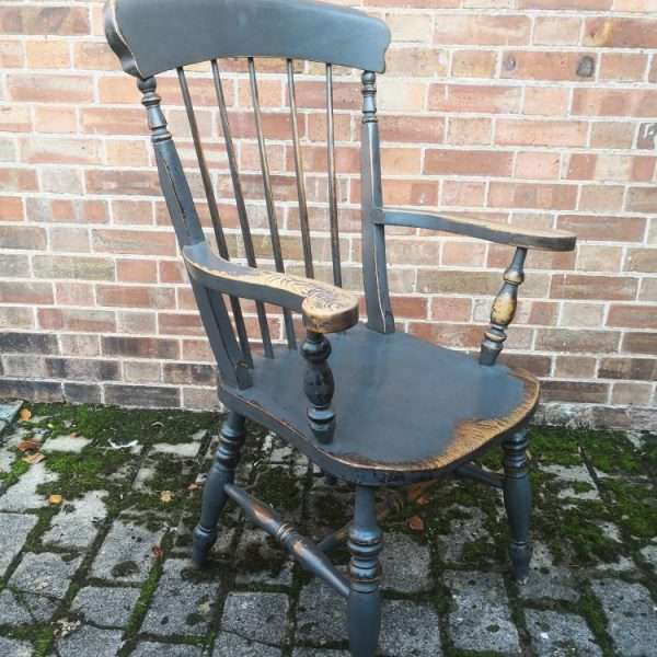 Late 19th Century Painted Elm Grandfather Chair1