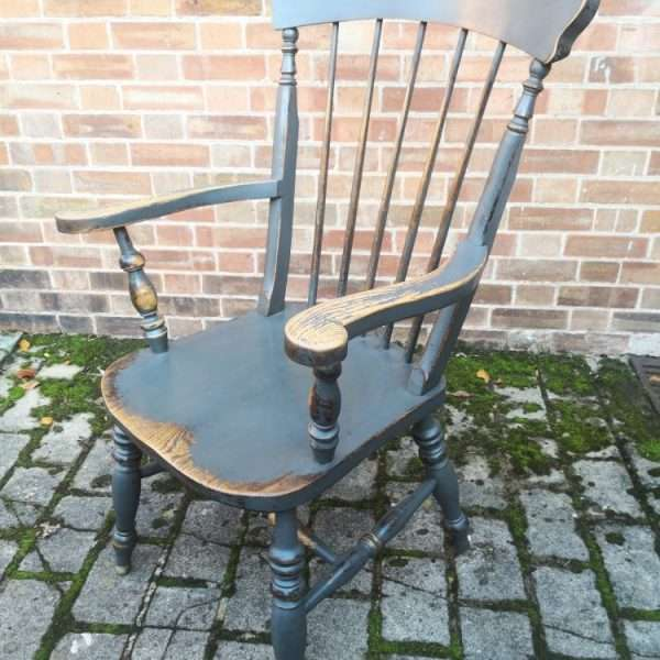 Late 19th Century Painted Elm Grandfather Chair2